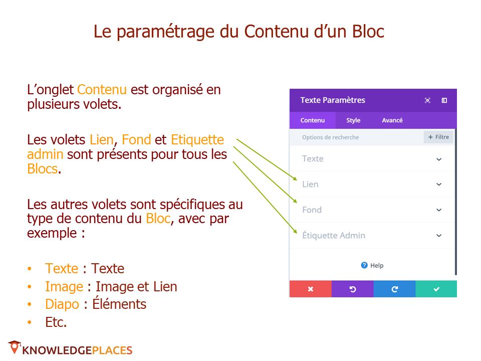 Le contenu et le design des blocs (3)