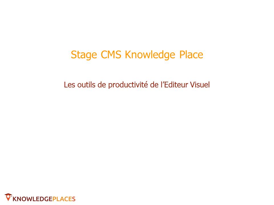 Les outils de productivité de l'éditeur visuel (1)