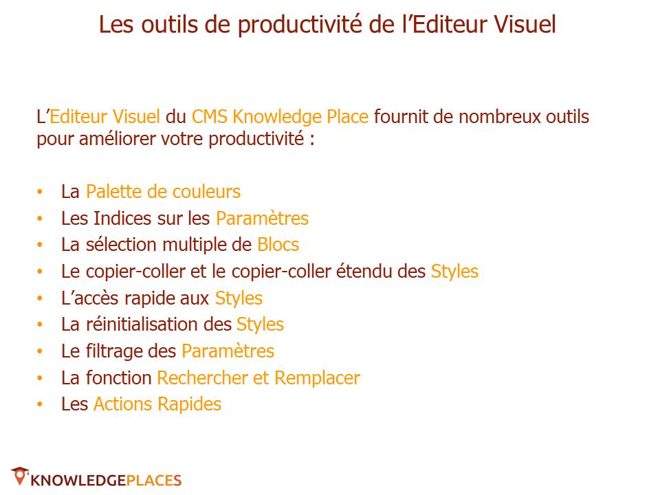 Les outils de productivité de l'éditeur visuel (2)